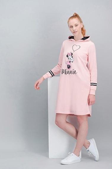 Minnie Mouse Minnie Mouse Lisanslı İnci Pembe Kadın Kapüşonlu Elbise Pembe